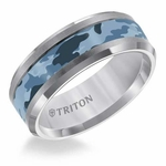 Triton 8mm Tungsten Carbide Ring with Blue Camouflage