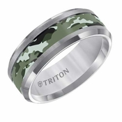 Triton 8mm Tungsten Carbide Ring with Dark Green Camouflage