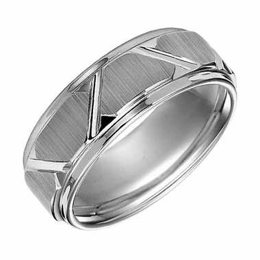 Triton 8mm Tungsten Carbide Ring with Diagonal Cuts