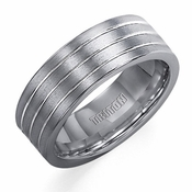 Triton 8mm Tungsten Carbide Ring with Polished Grooves
