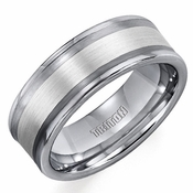Triton 8mm Tungsten Carbide Ring with Silver Inlay