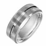 Triton 8mm Tungsten Carbide Ring with Steel Cable Inlay