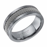 Triton 8mm Tungsten Carbide Ring with Steel Mesh Inlay