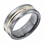 Triton 8mm Tungsten Carbide Ring with Sterling Silver Inlay