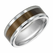 Triton 8mm Tungsten Carbide Ring with Tiger's Eye Inlay