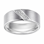 Triton 8mm White Tungsten Carbide 3 Diamonds Ring