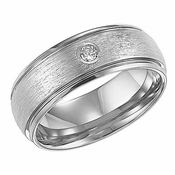 Triton 8mm White Tungsten Carbide Diamond Ring