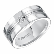 Triton 8mm White Tungsten Carbide Diamond Ring with Center Groove