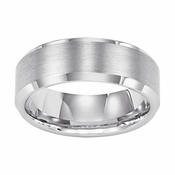 Triton 8mm White Tungsten Carbide Ring