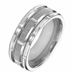 Triton 8mm White Tungsten Carbide Ring with Brick Design