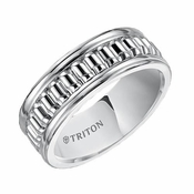 Triton 8mm White Tungsten Carbide Ring with Corrugated Texture