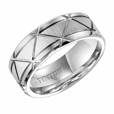Triton 8mm White Tungsten Carbide Ring with Crossing Grooves