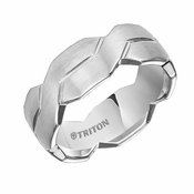 Triton 8mm White Tungsten Carbide Ring with Cuts