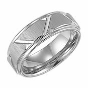 Triton 8mm White Tungsten Carbide Ring with Diagonal Cuts