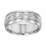 Triton 8mm White Tungsten Carbide Ring with Diagonal Grooves