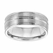Triton 8mm White Tungsten Carbide Ring with Groove