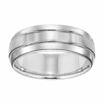 Triton 8mm White Tungsten Carbide Ring with Grooves