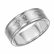 Triton 8mm White Tungsten Carbide Ring with Laser Engraved Cross Pattern