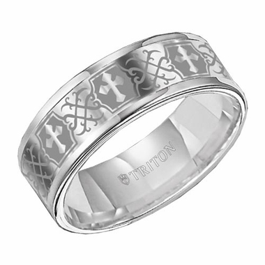 Triton 8mm White Tungsten Carbide Ring with Laser Engraved Cross Patterns