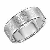 Triton 8mm White Tungsten Carbide Ring with Laser Engraved Crosses