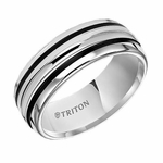 Triton 8mm White Tungsten Carbide Ring with Parallel Grooves