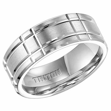 Triton 8mm White Tungsten Carbide Ring with Perpendicular Cuts
