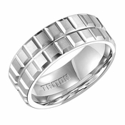 Triton 8mm White Tungsten Carbide Ring with Slots