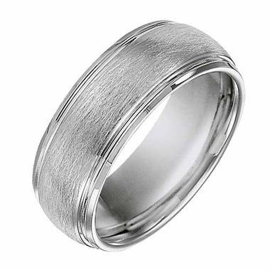 Triton 8mm White Tungsten Carbide Ring with Step Edges