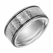 Triton 9.5mm Stainless Steel Ring with Faux Nugget Texture