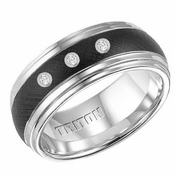 Triton 9mm Black and White Tungsten Carbide 3 Diamond Ring