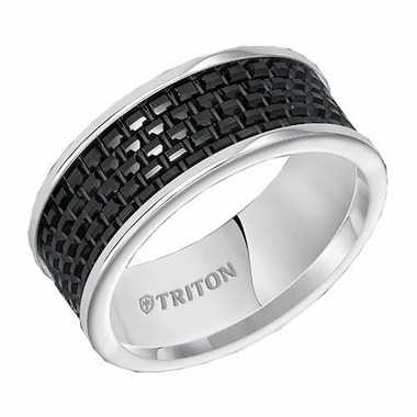 Triton 9mm Black and White Tungsten Carbide Ring with Brick Texture