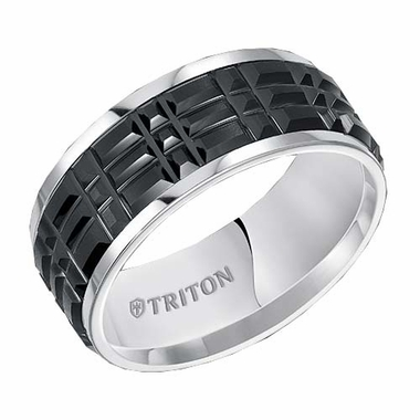 Triton 9mm Black and White Tungsten Carbide Ring with Center Cuts