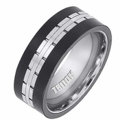 Triton 9mm Black and White Tungsten Carbide Ring with Center Lining