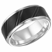 Triton 9mm Black and White Tungsten Carbide Ring with Diagonal Cuts