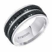 Triton 9mm Black and White Tungsten Carbide Ring with Double Row Vertical Cuts