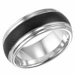 Triton 9mm Black and White Tungsten Carbide Ring with Florentine Finish