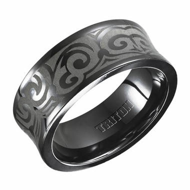 Triton 9mm Black Titanium Concave Ring with Engravings
