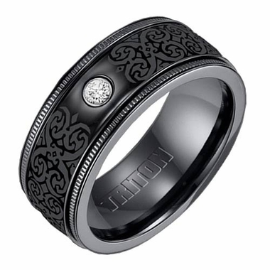 Triton 9mm Black Titanium Diamond Ring with Coin Texture and Engravings
