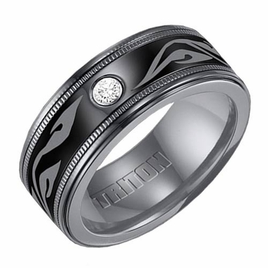 Triton 9mm Black Titanium Diamond Ring with Engravings