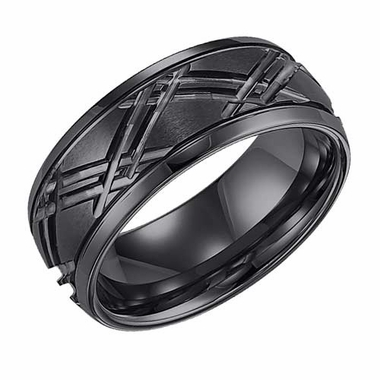 Triton 9mm Black Tungsten Carbide Ring with Cross Over Diagonal Cuts