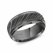 Triton 9mm Black Tungsten Carbide Ring with Diagonal Cuts