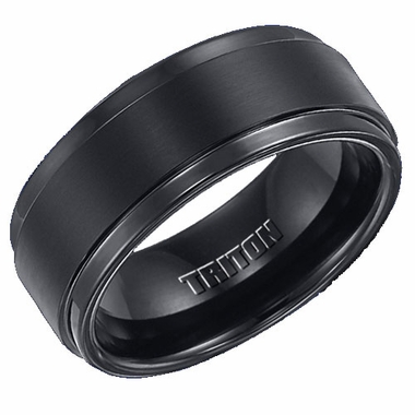 Triton 9mm Black Tungsten Carbide Ring with Step Edges