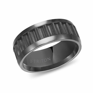 Triton 9mm Corrugated Black Tungsten Carbide Ring