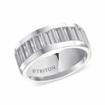 Triton 9mm Corrugated White Tungsten Carbide Ring