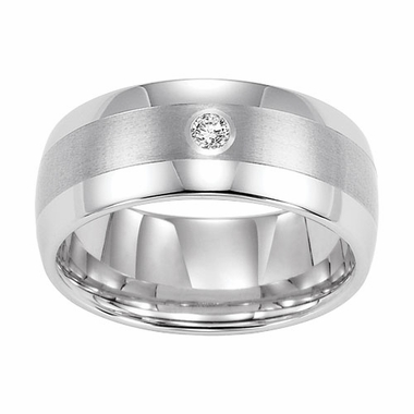 Triton 9mm Dome Profile White Tungsten Carbide Diamond Ring