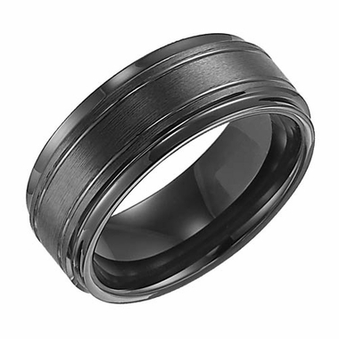 Triton 9mm Dual Finish Black Tungsten Carbide Ring with Grooves