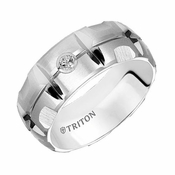 Triton 9mm Dual Finish Domed White Tungsten Carbide Ring