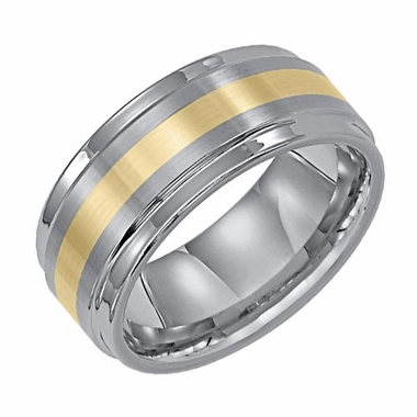 Triton 9mm Dual Finish Tungsten Carbide Ring with 18K Yellow Gold Inlay