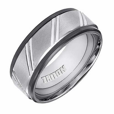 Triton 9mm Dual Finish Tungsten Carbide Ring with Diagonal Cuts