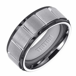 Triton 9mm Dual Finish Tungsten Carbide Ring with Vertical Cuts